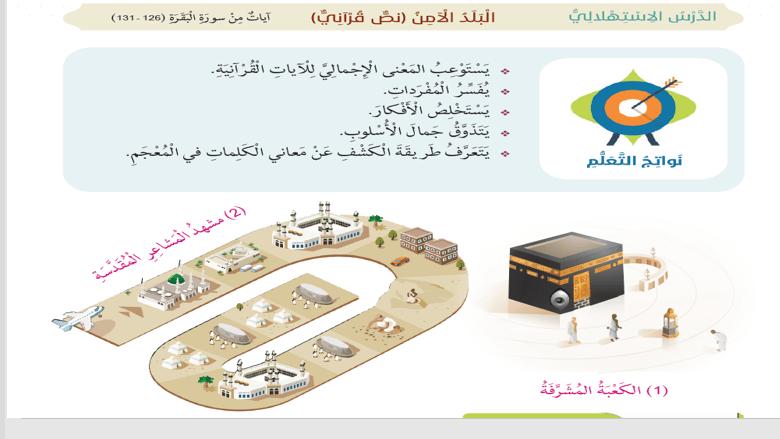 حل درس البلد الامن لغة عربية الصف السابع