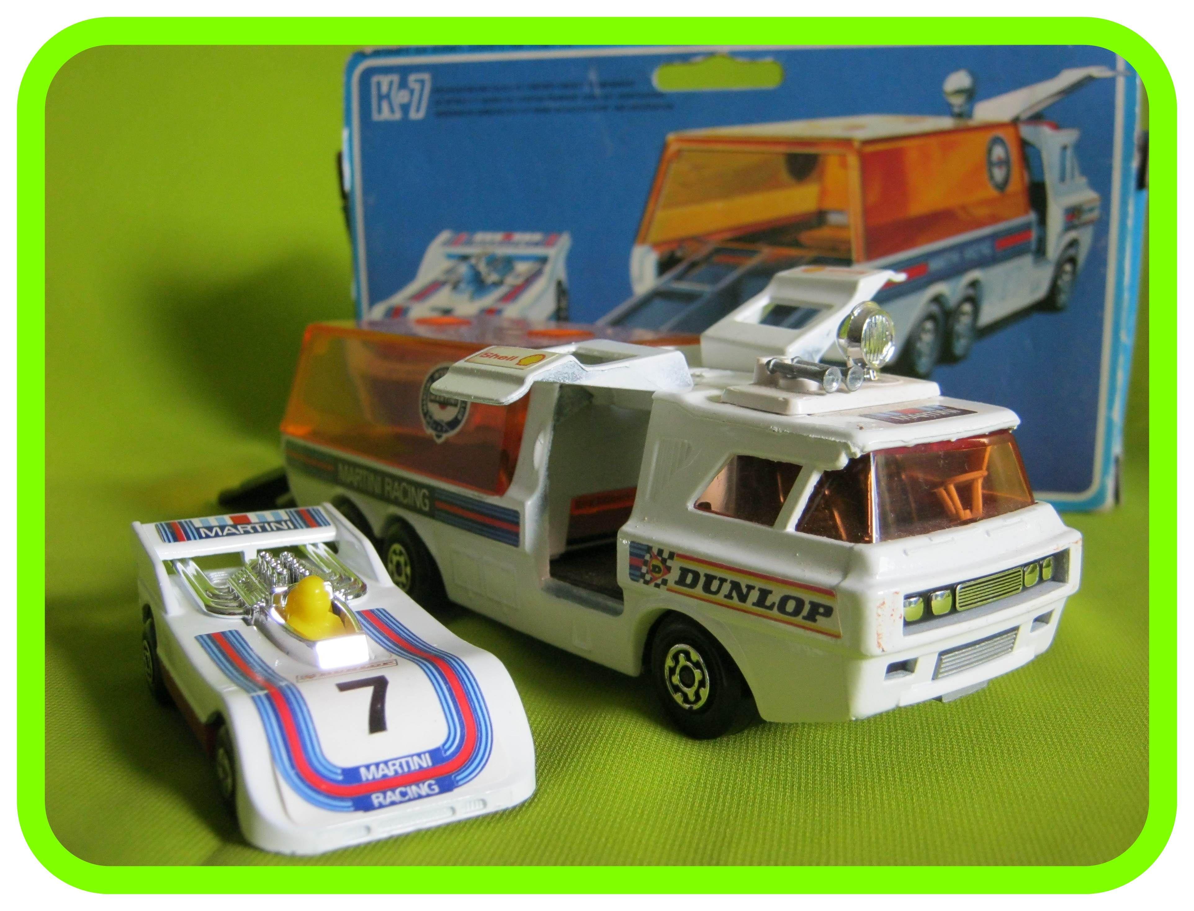 K7 Racing Car Transporter Martini Version With Hi Tailer Racing Car Badged 7 Mattel Hot Wheels Toy Car Vintage Toys