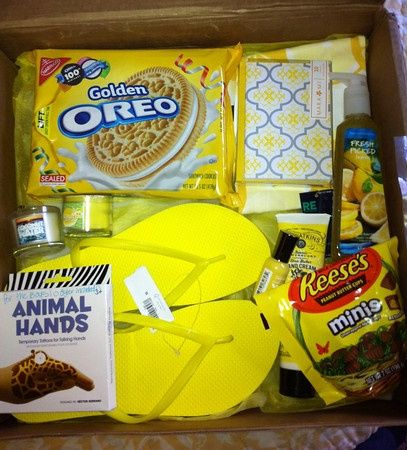Just found moms chemo gift basket! A box of sunshine - Everything is yellow in the box  Clever idea for any color- pink, blue, orange, blue, etc.