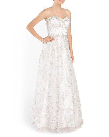 55891c132d5 Printed Embellished Long Gown - Formal - T.J.Maxx