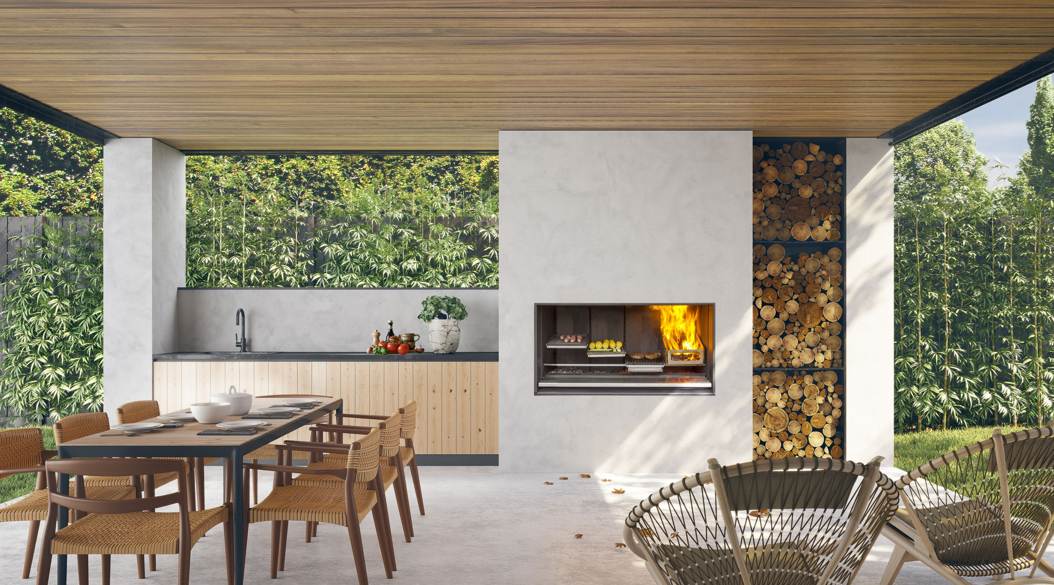 Escea S Outdoor Fireplace Kitchen Grill Then Chill When Not Being Used The Cooking Grills Hide Outdoor Fireplace Outdoor Gas Fireplace Outside Fireplace