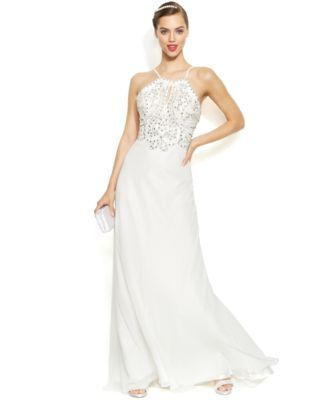 Joanna Chen Sleeveless Embellished Halter Gown | macys.com | The ...