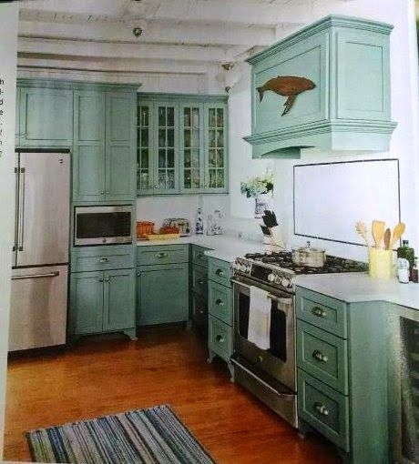 Kitchen Teal Cabis On Beach Cottage Kitchens Subway Style: Stratton Blue By Benjamin Moore
