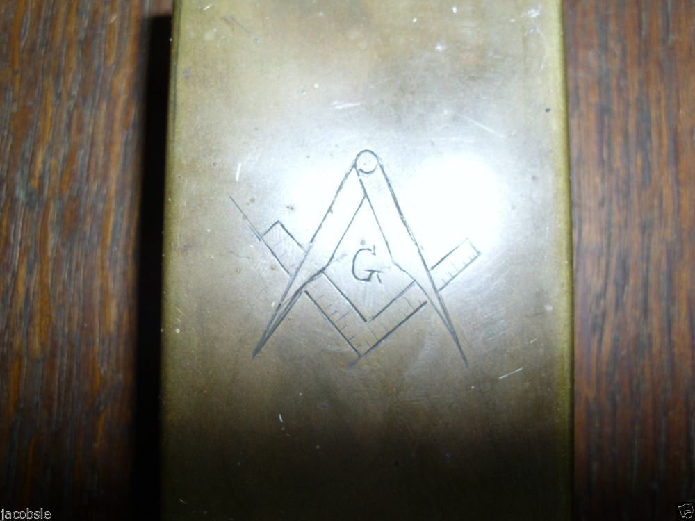 Antique Vintage Brass Masonic Symbol Match Safe with Green Hat Safety Matches