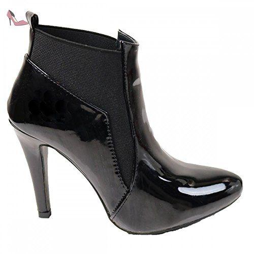 846f081744047 Bottines femme noires vernies à talons bouts pointus-40 - Chaussures primtex  ( Partner