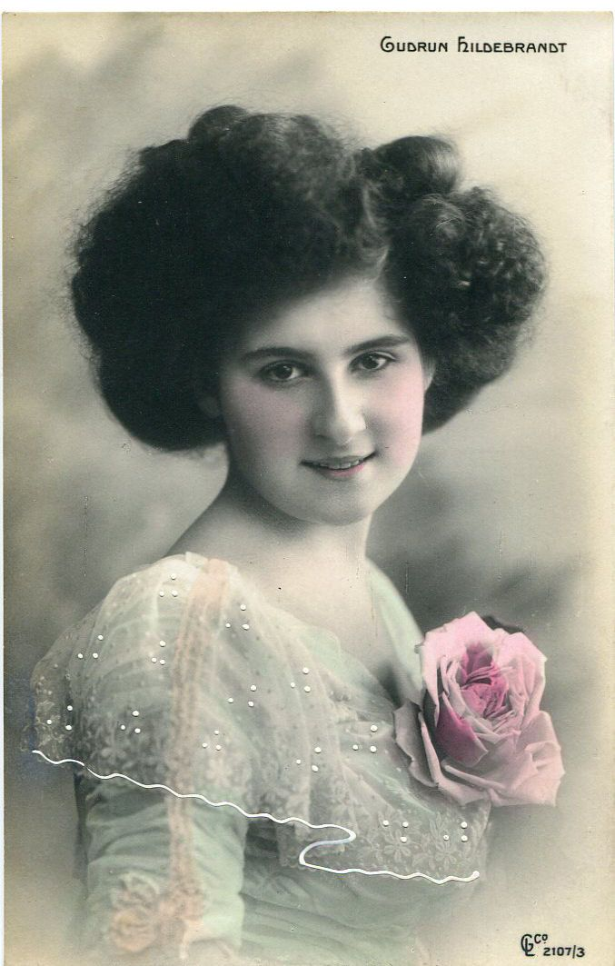 Original French vintage hand tinted real photo postcard - Gudrun Hildebrandt with rose on her dress - Victorian Paper Ephemera.
