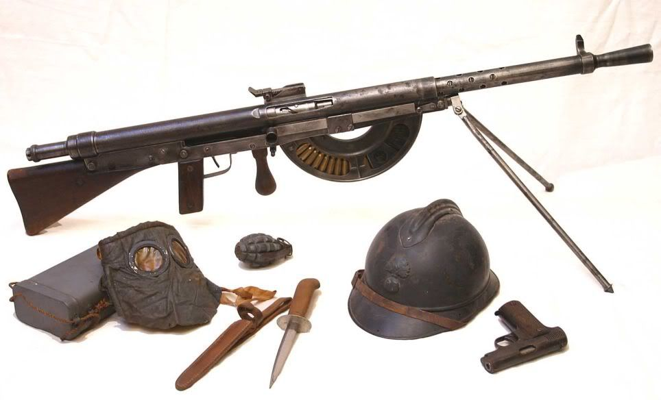 Chauchat named after its main contributor Colonel Louis Chauchat, was the standard machine rifle or light machine gun of the French Army during WWI. Its designation in the French Army was Fusil Mitrailleur Mle 1915 CSRG