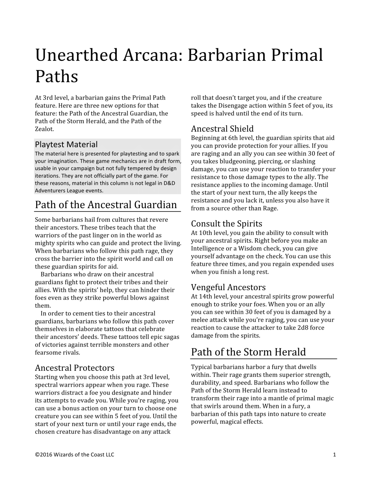 DnD 5e Homebrew — Unearthed Arcana Barbarian Primal Paths