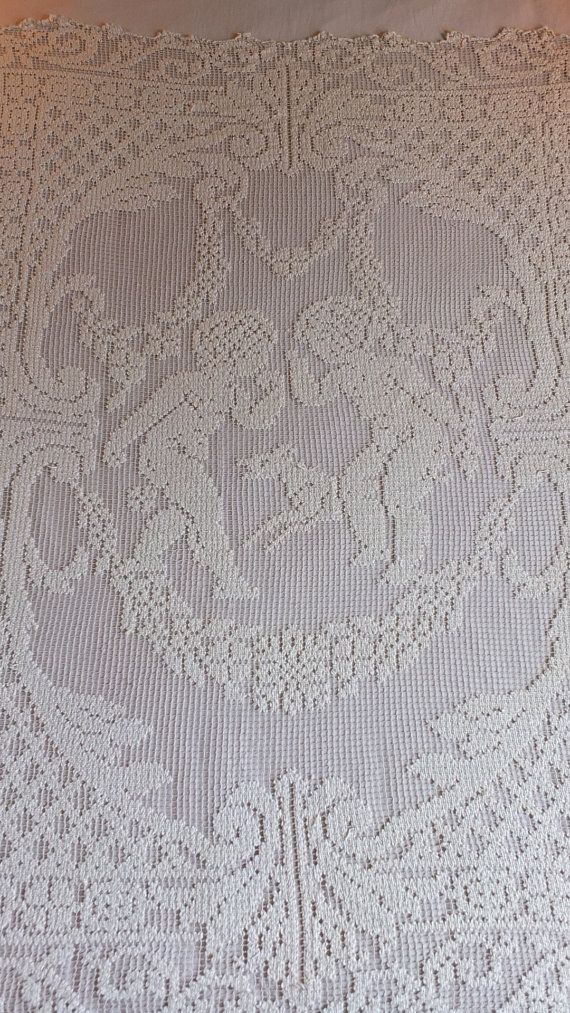 Antique French Handmade Filet Lace Scalloped Bedspread Curtain Dowry ...