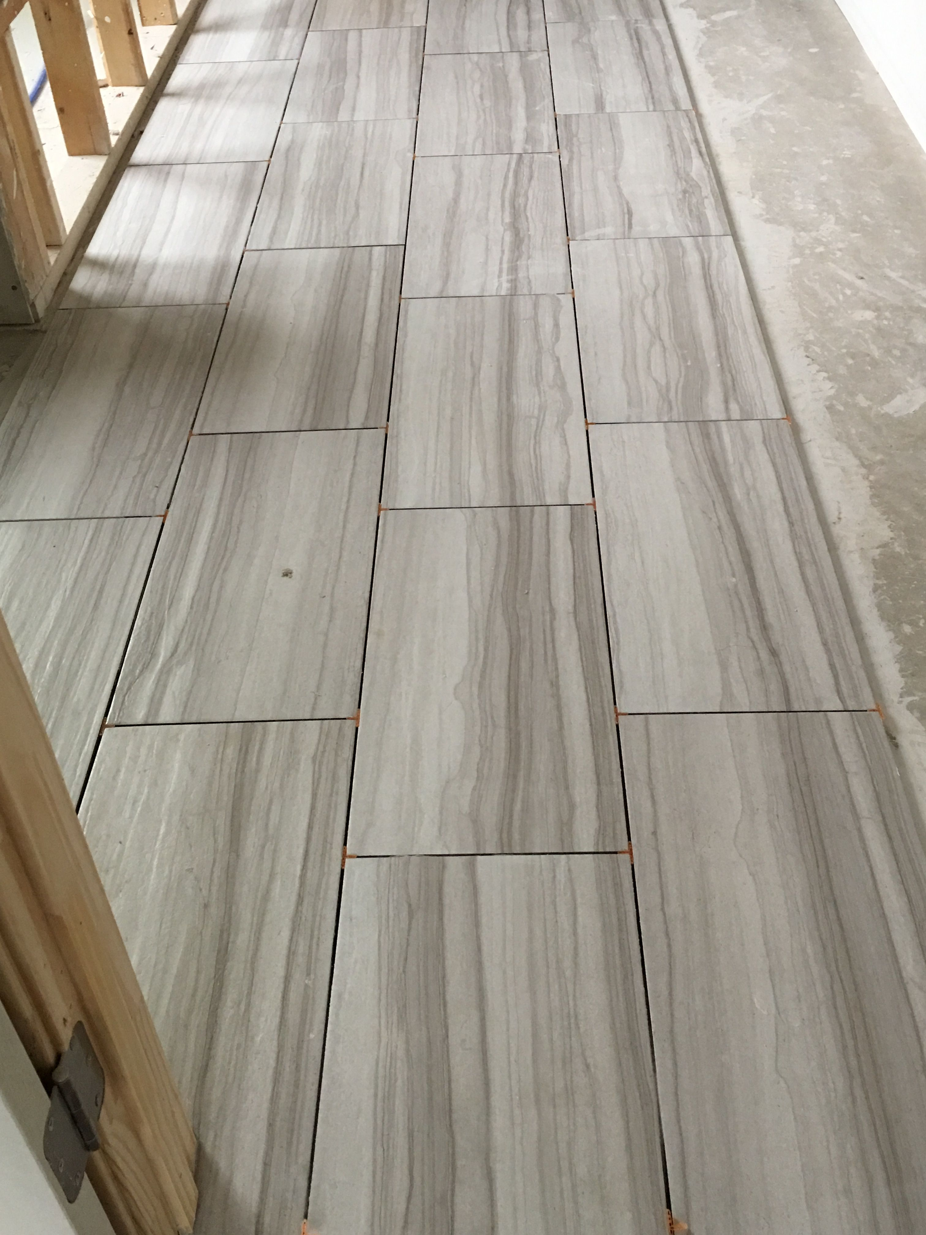 Interceramic Burano Bianca Veletta 12 X 24 W 1 8 Grout Lines Currently Ungrouted But Will Be Texrite Chromaflex Executive House Flooring Grey Wood Flooring