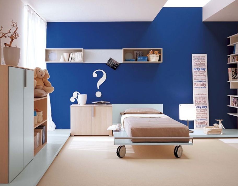 Bright Two Tone White And Blue Bedroom Nursery Interior Paint With Neutral  Colored Furniture And Rug