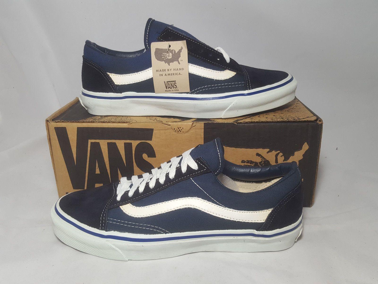 09eaab6408 Vintage Vans OLD SKOOL NAVY made in USA Men s Size 9.5 NOS SK8 HI BMX skate