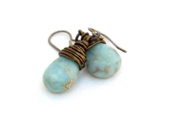 African Opal Earrings Wire wrap Semiprecious by JillianDesigns4u, $19.00