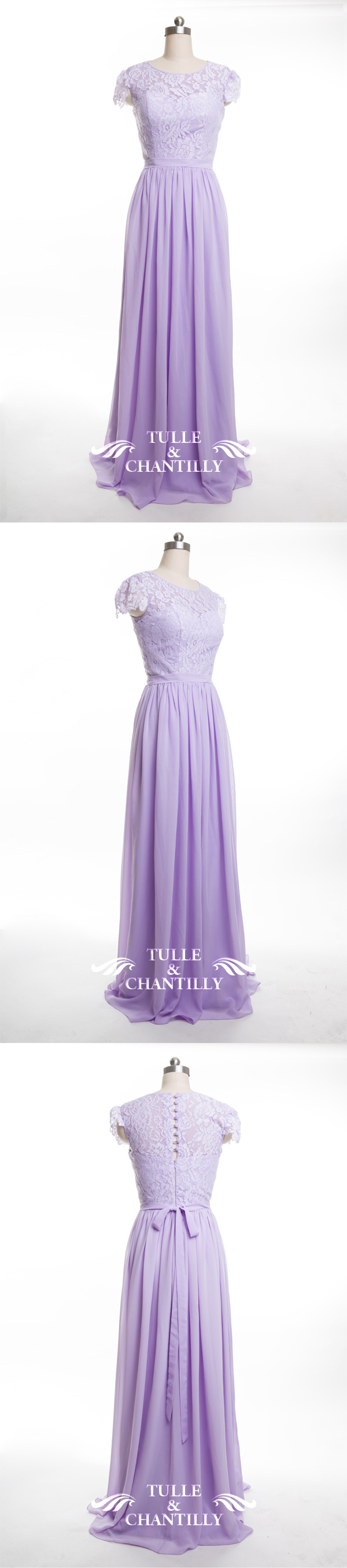Blue and purple wedding dress  Lace and Chiffon Bridesmaid Dress with Cap Sleeves TBQP  Chiffon