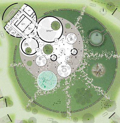 Huge Circular Lawn As Part Of A Round Themed Site Plan
