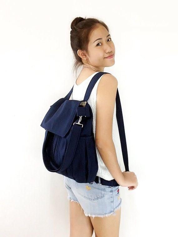 d0a433418 SALE 10% Canvas Bag Cotton bag diaper bag Shoulder bag Hobo bag Tote bag  Messenger Purse Backpack Everyday bag - Dark Navy Blue- Zinnia Ask..