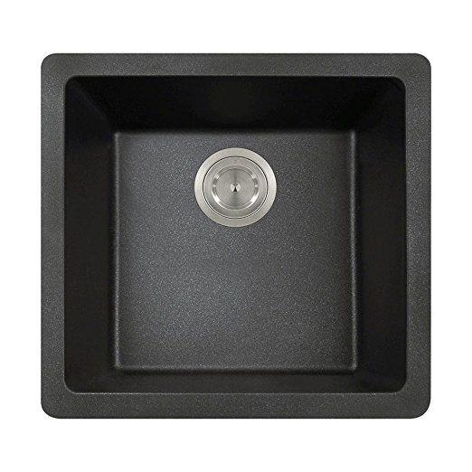 MR Direct 805 Black TruGranite Single Bowl Kitchen Sink