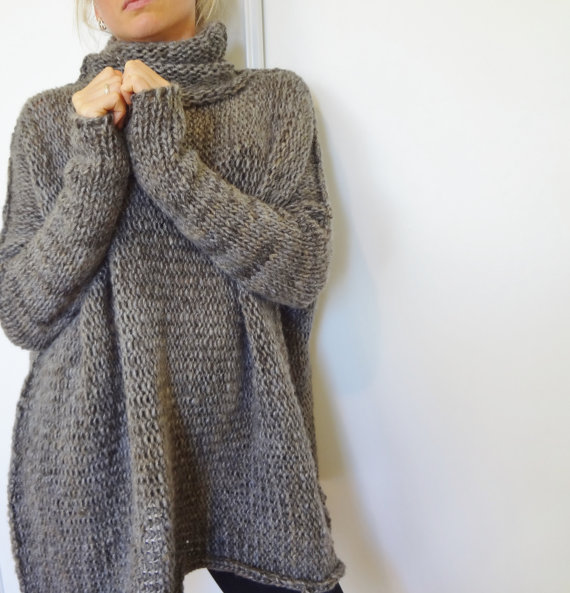 Oversized Chunky knit sweater.Slouchy Bulky  Loose sweater. Marble gray.  Limited quantity. fa4eeaf43