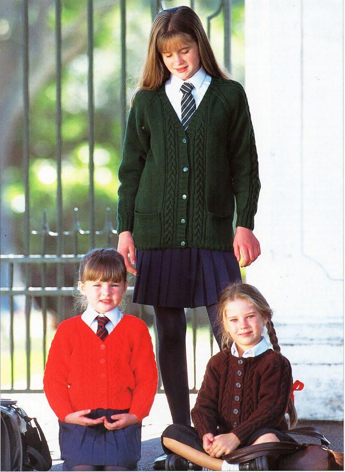 Childrens Cardigans Knitting Pattern Pdf Childs Cable School