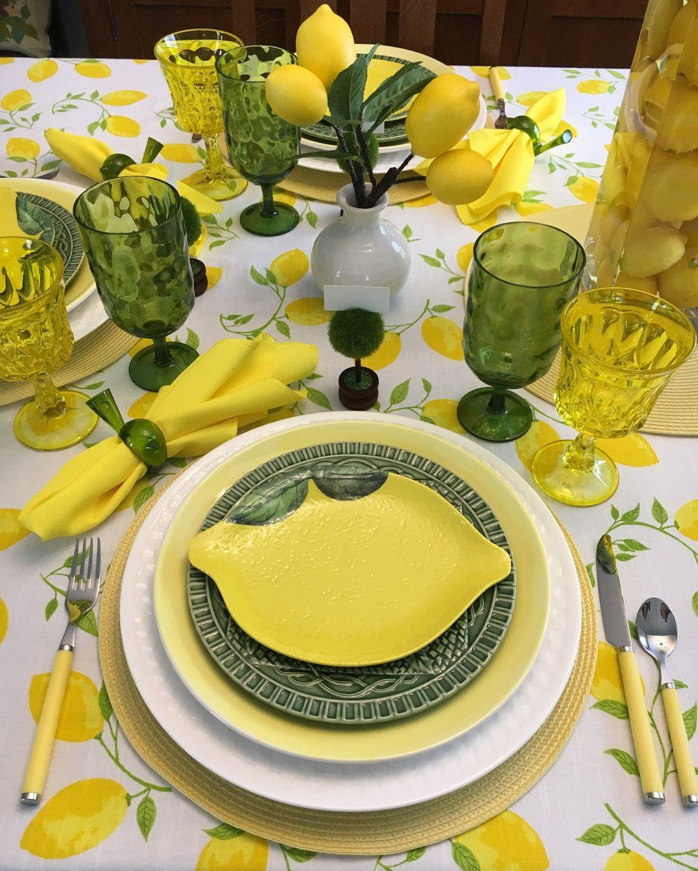 2019 04 30b Jpg Lemon Tablescape Lemon Table Decor Lemon Decor