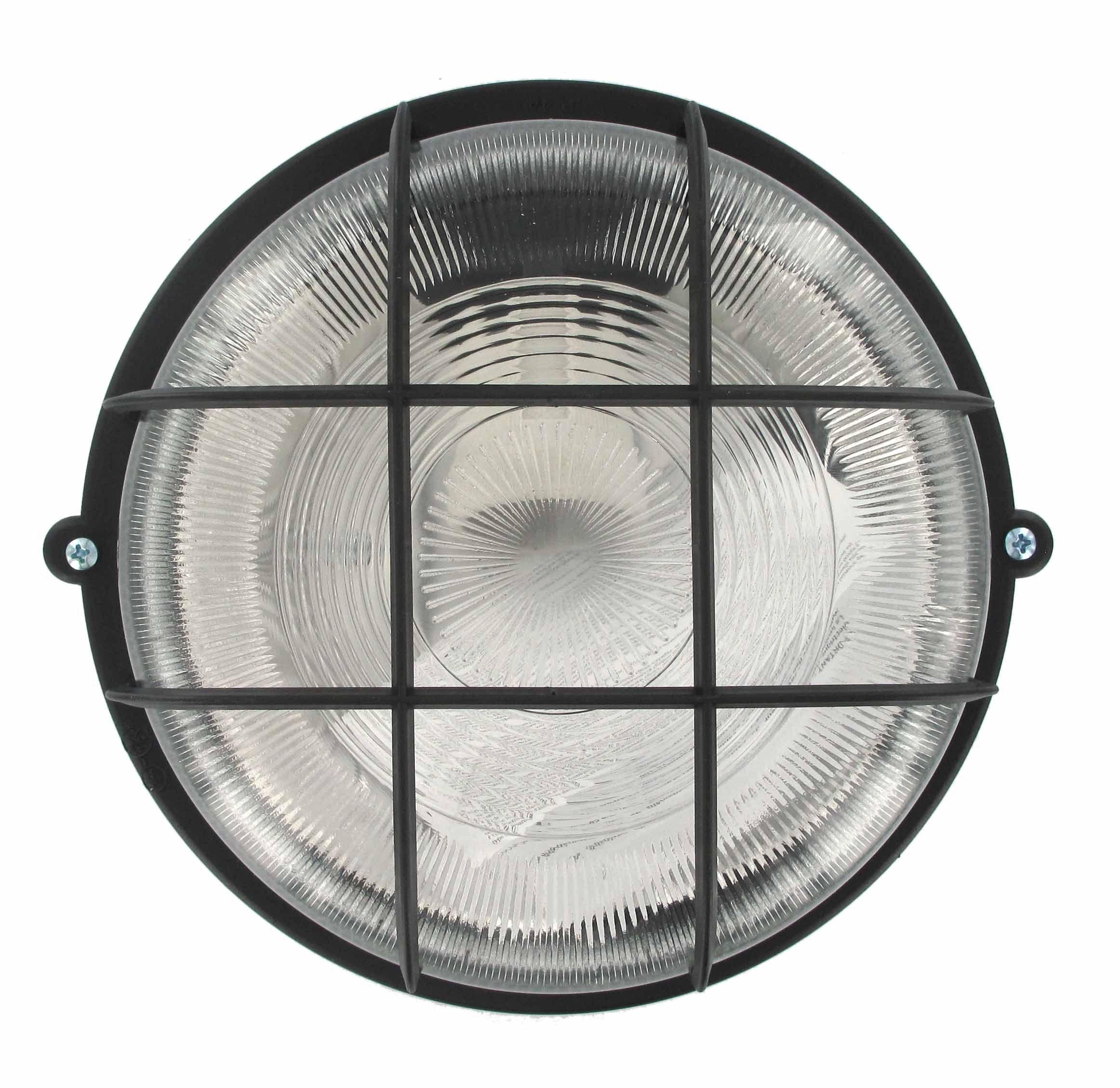 Hublot Rond 100W Plastique Noir Avec Grille Et Vitre De Protection
