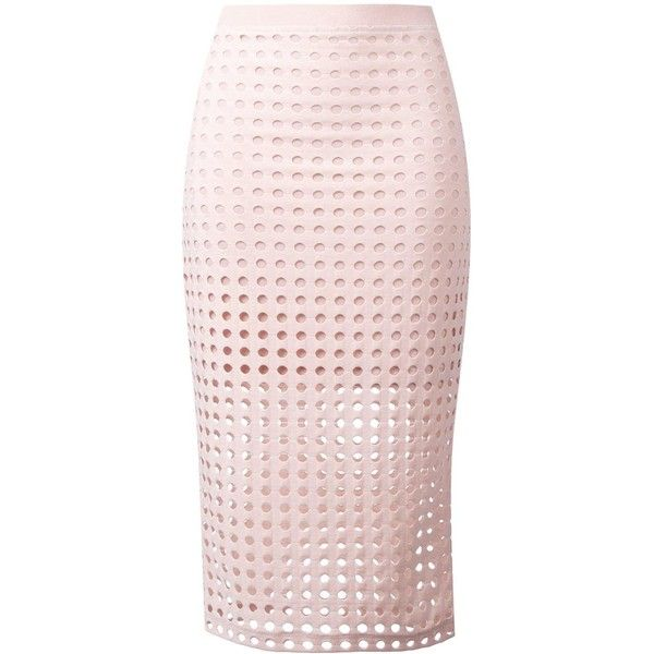 T by Alexander Wang Circular Hole Skirt (£165) ❤ liked on Polyvore featuring skirts, bottoms, pink, straight skirts, elastic waist circle skirt, knee length circle skirt, pink circle skirt and t by alexander wang