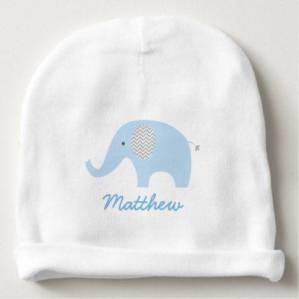 Cute Blue Elephant Baby Beanie - pattern sample design template diy ...