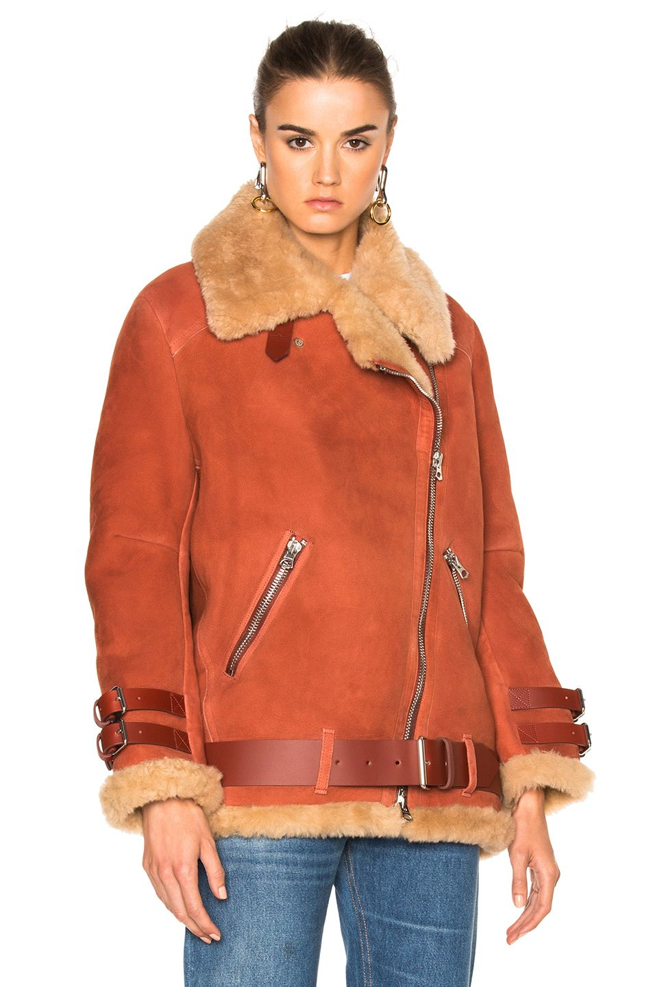 Image 2 of Acne Studios Velocite Suede Jacket in Sienna Brown