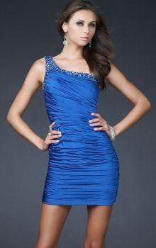Blue Sheath/Column One Shoulder Natural Short/Mini Sleeveless Crystal Satin Prom Dresses Dress