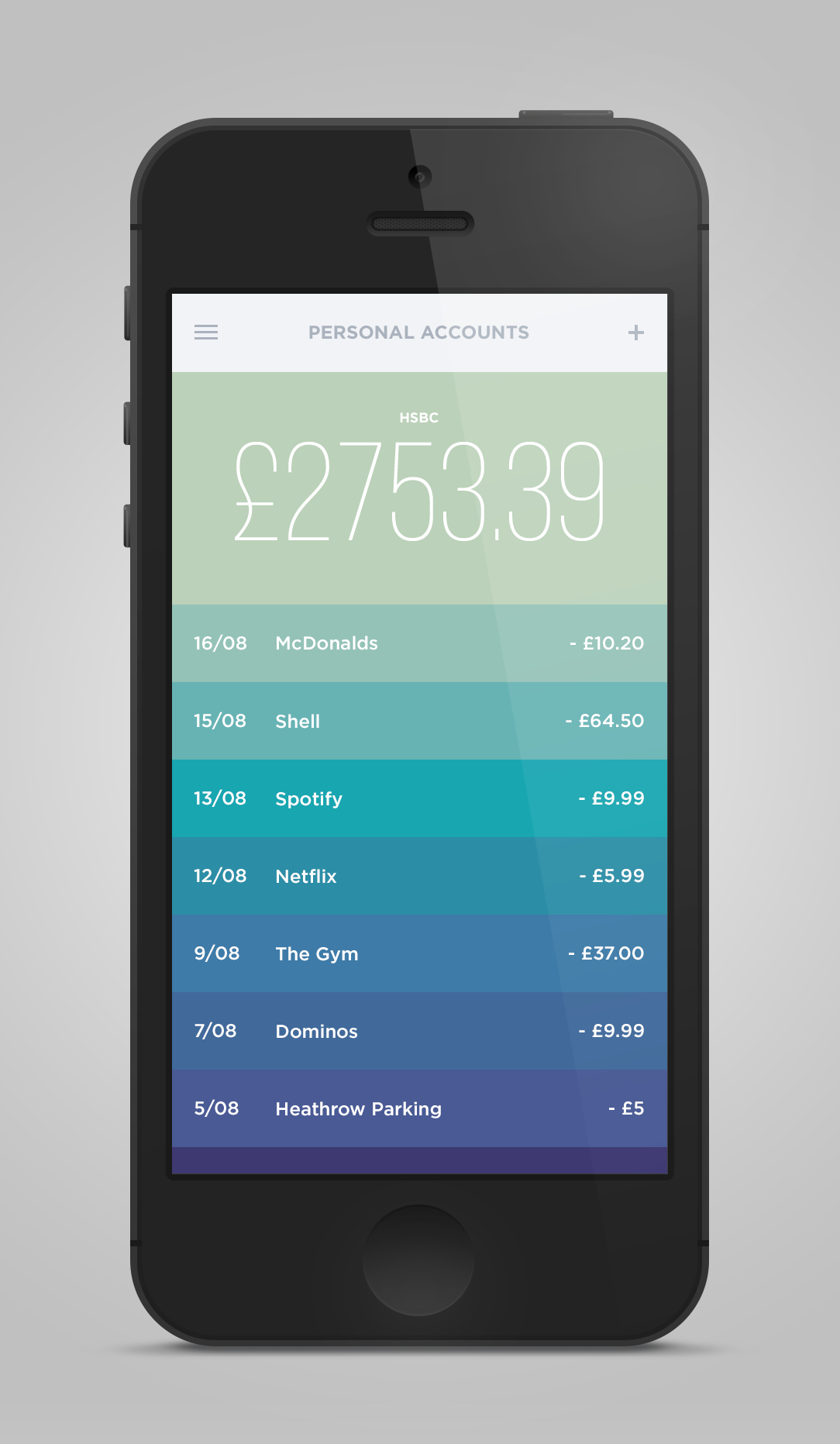 Money iPhone App Concept by UltraLinx. Inspired by Clear