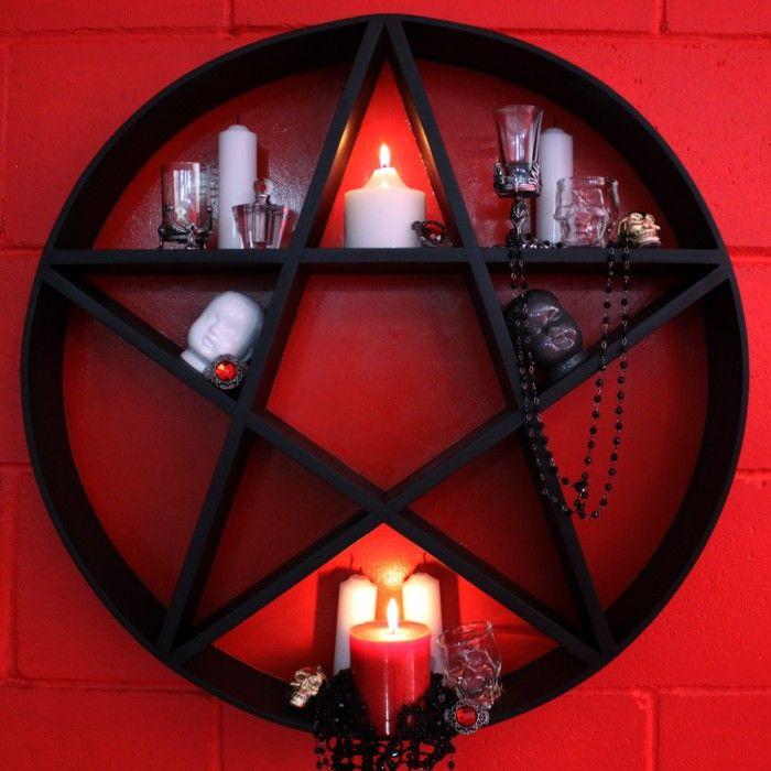Pentagram Shelf Black Amp Red Homewares Goth Home
