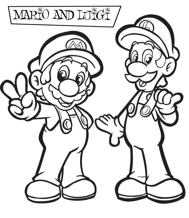 Cool Super Mario And Luigi All Right Coloring Page Super Mario