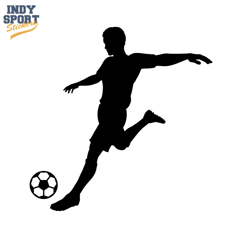 soccer player silhouette kicking ball decal or sticker for your