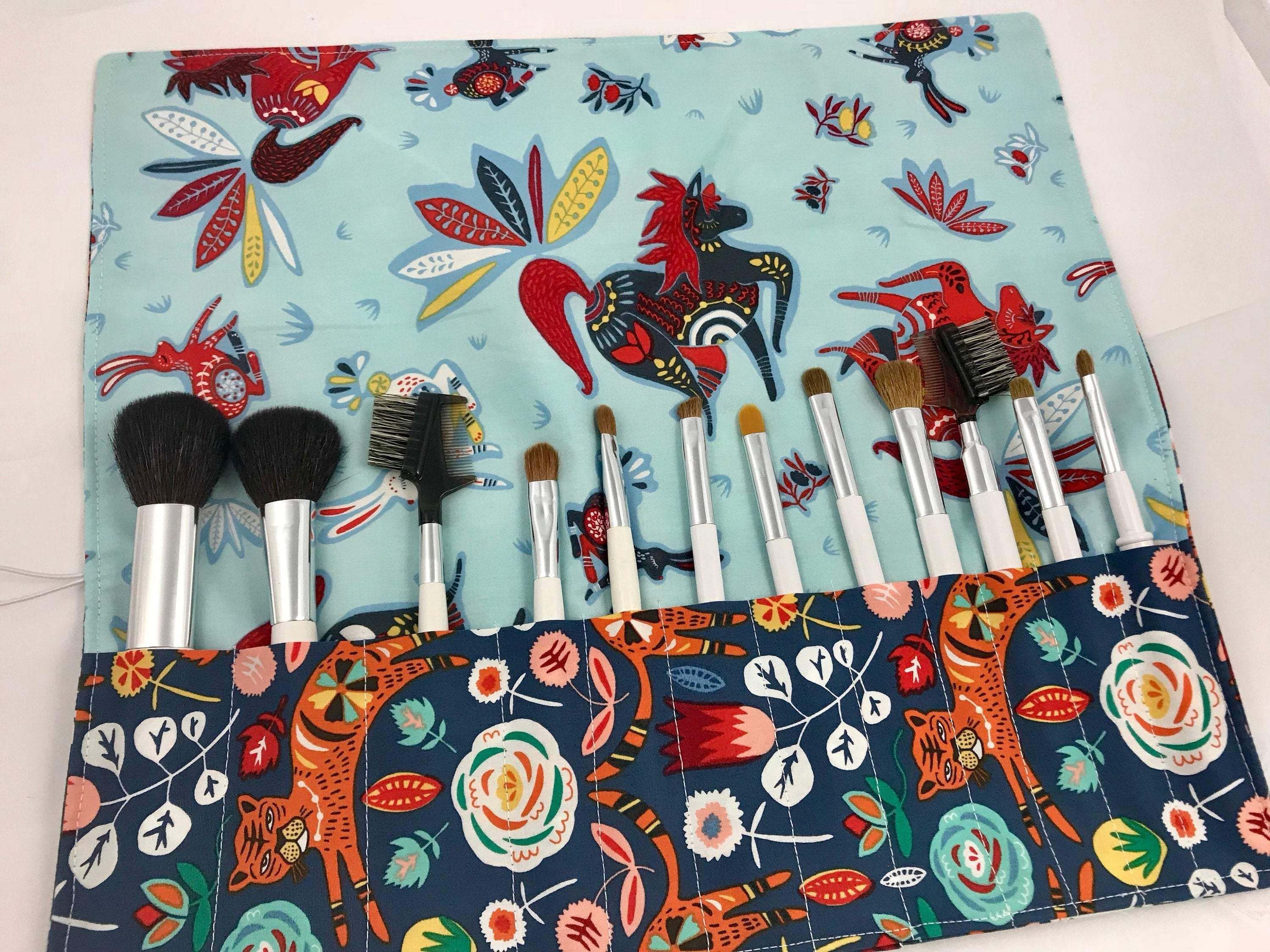 Tiger Makeup Brush Holder, Blue Cosmetic Brush Roll Up