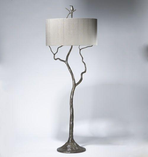 tall tree & humming bird floor lamp in grey painted pewter ...
