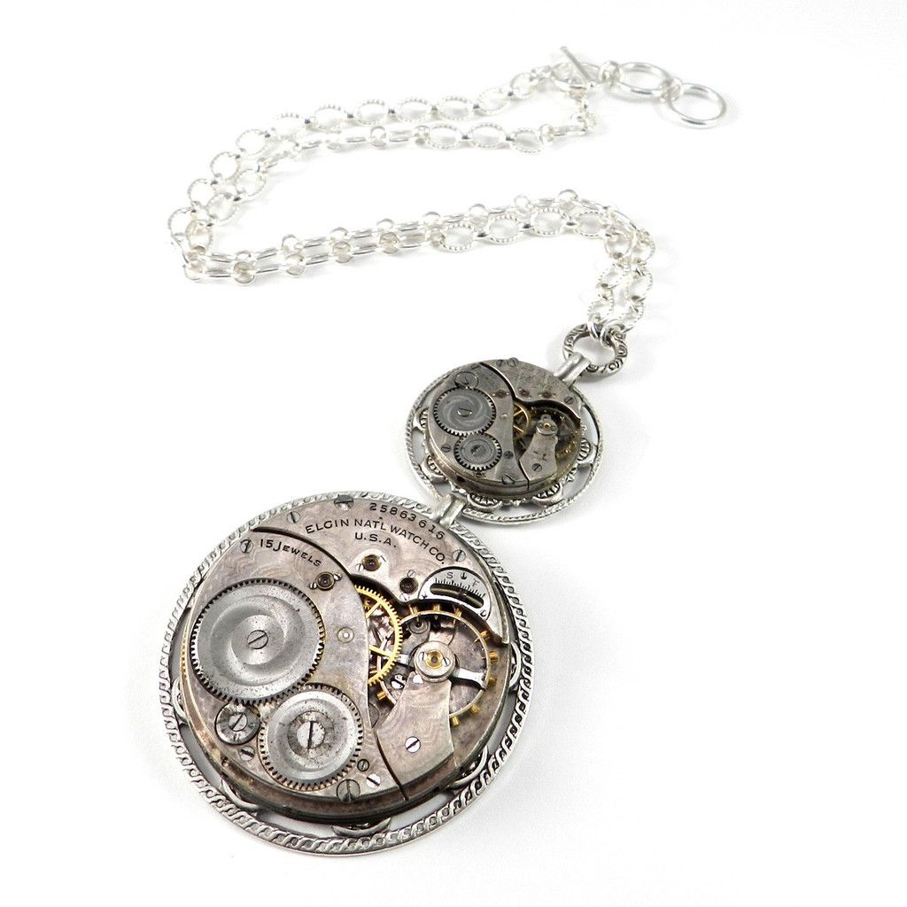 Luxe Steampunk Necklace Double Victorian Clockwork Statement