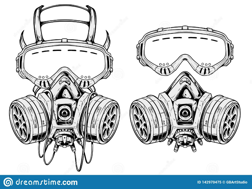 Graphic Detailed Protective Gas Mask Respirator Stock Vector Illustration Of Detailed Biological 142970475 Gas Mask Mask Drawing Icon Set Vector