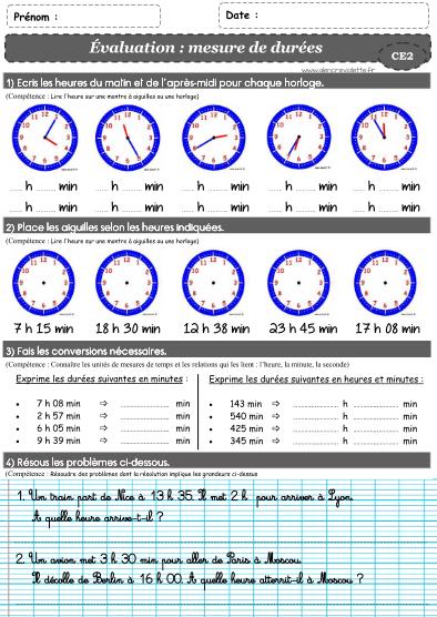 Evaluations ce2 a l 39 encre violette le temps les - Calcul cm1 a imprimer ...