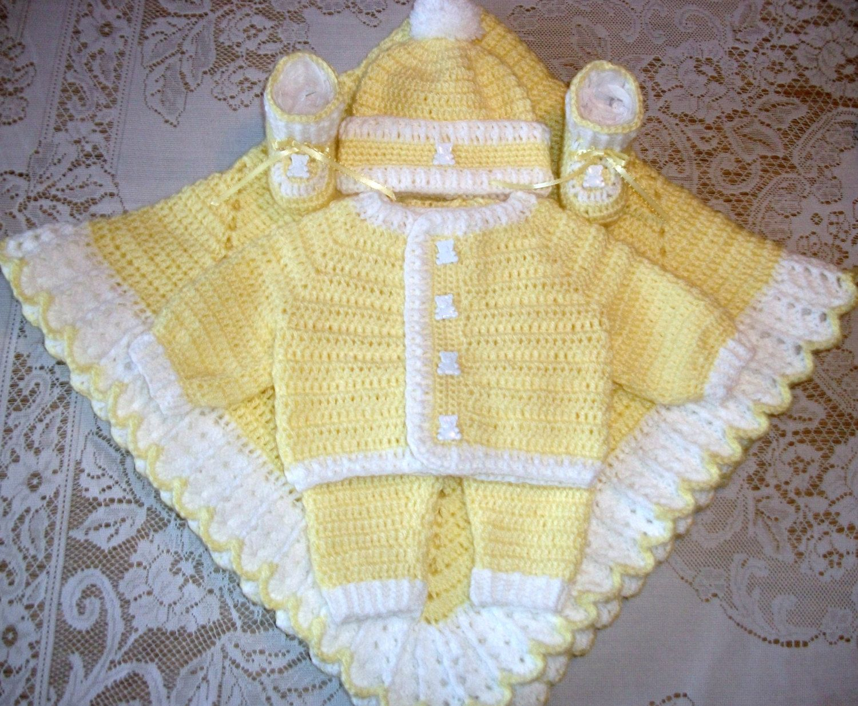 Baby Boy Yellow Crochet Layette Sweater by MADEWITHLOVEBYSUZIEQ ...