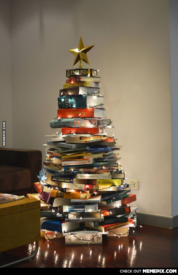 Christmas Tree Made Out Of Books
