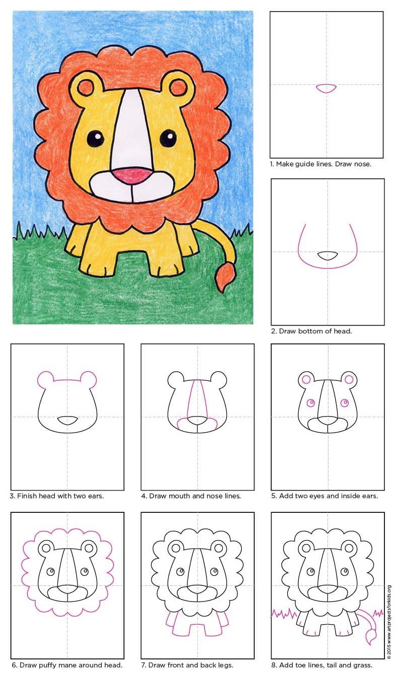Draw a Baby Lion | APFK Drawings | Drawings, Lion drawing, Art projects