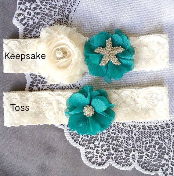 Wedding Garter Bridal Garter Set TURQUOISE BLUE Lace by LXdesigns