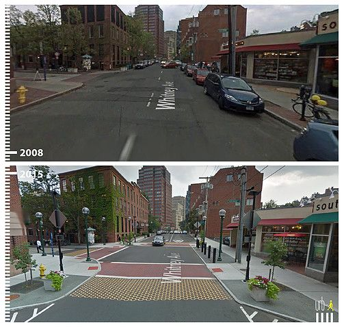 Examples of public space transformation from car-oriented to pedestrian friendly. Viewed through google streetview.