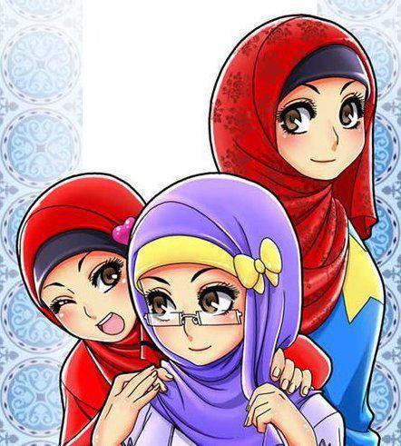 I M The Winky One And The Other Red Hijabi Xd Ilustrasi Karakter Gambar Karakter Kartun