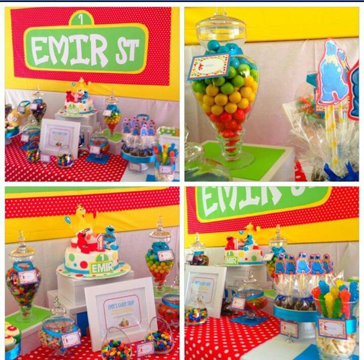 Birthday Party Buffet Table: Sesame Street Candy Buffet By A'lure Designs (facebook.com