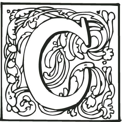Letter C With Ornament Coloring Page Coloring Pages Alphabet Coloring Free Printable Coloring Pages