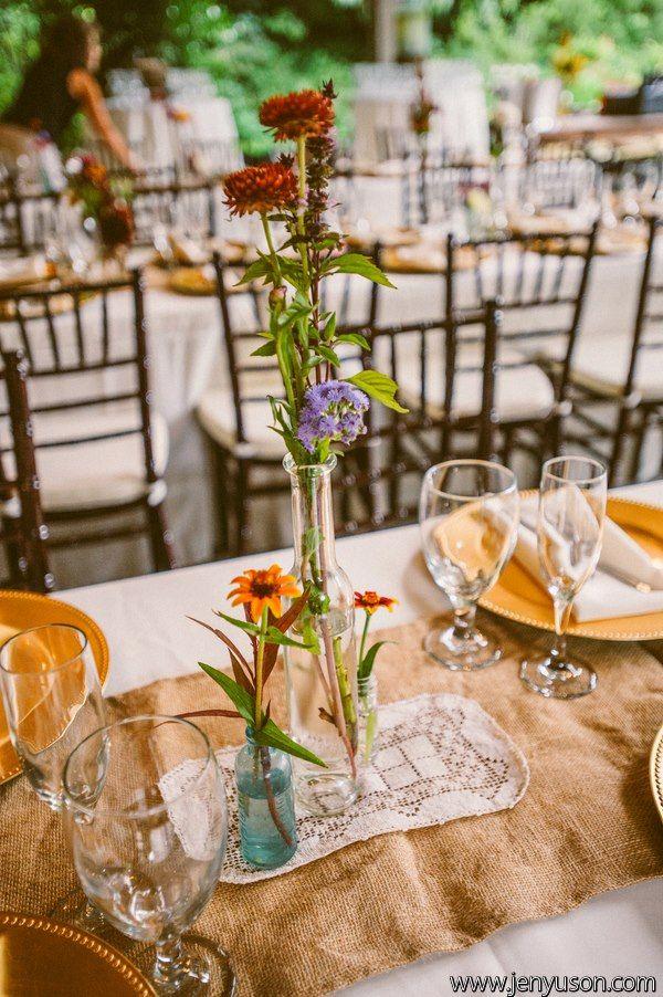 rustic burlap table settings for a wedding reception at hawkesdene house vintage barn wedding