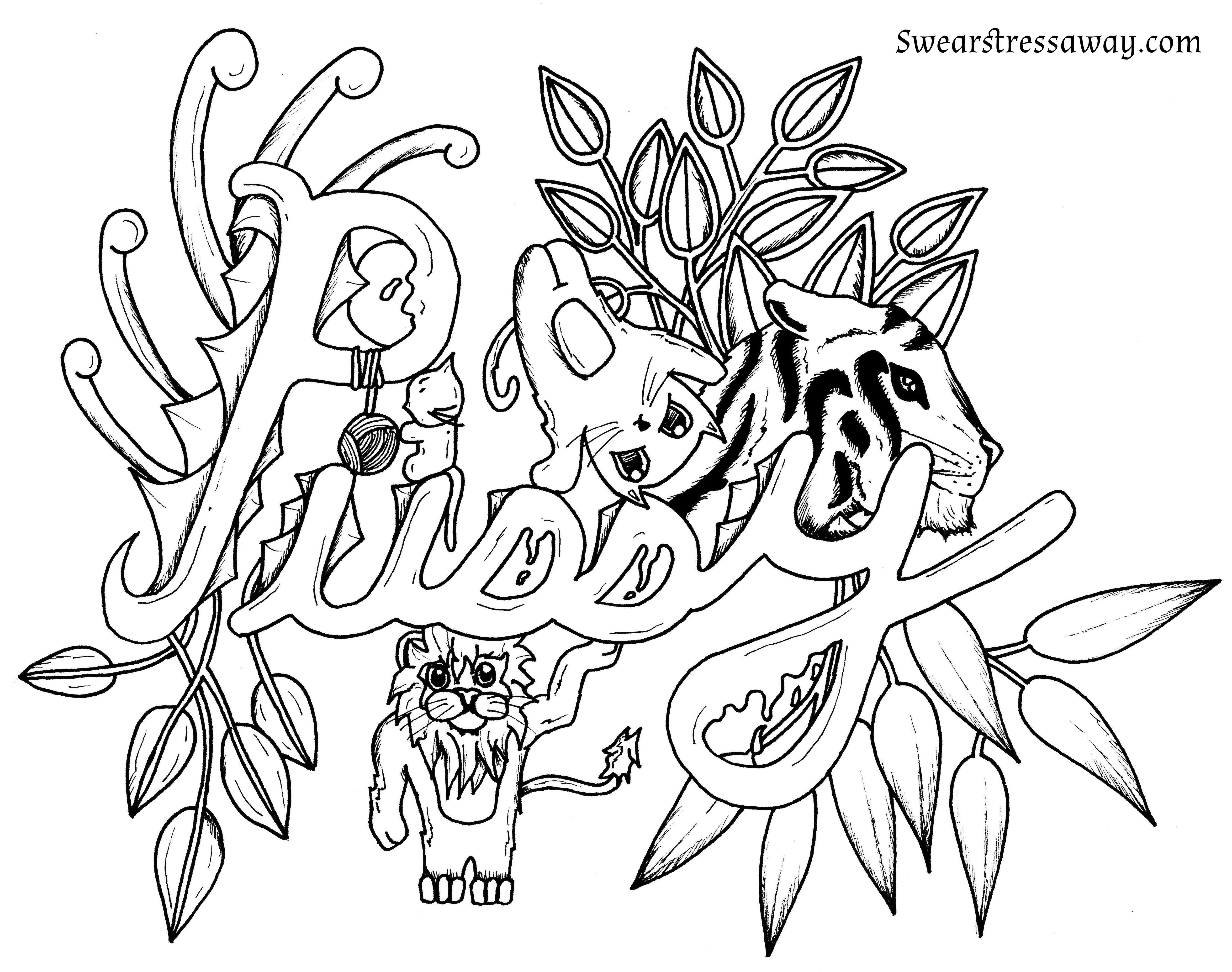 Pussy - Swear Word Coloring Page - Adult Coloring Page -  Swearstressaway.com - Comes