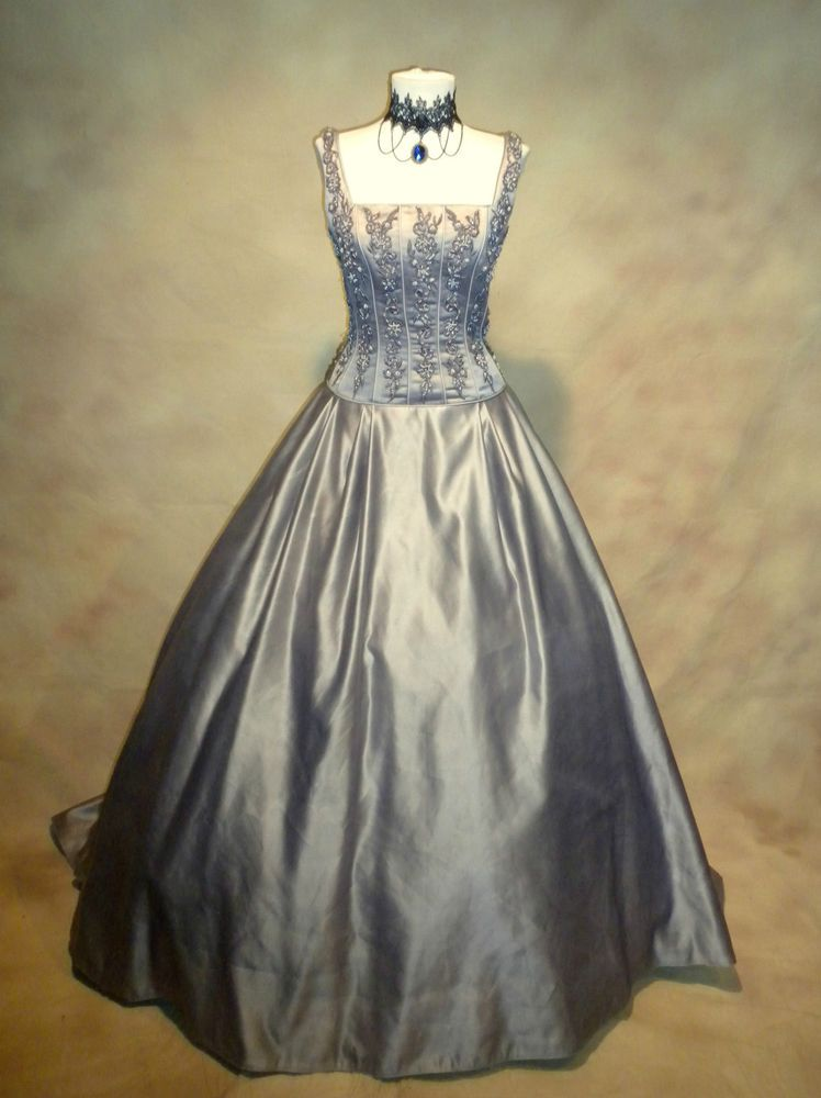 Pewter Blue Queen Princess Southern Belle Costume Evening Gown 36 ...