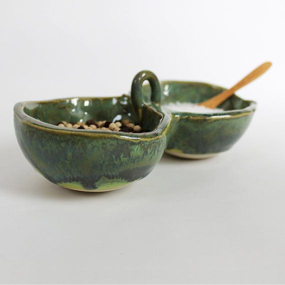 Perfect for salt and pepper! TwoPart Pottery Spice Bowl in Green by TulaneRoadPottery, $34.00 #kitchen #green #saltandpepper #dining